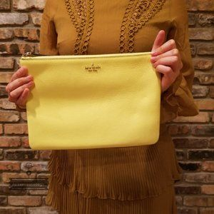 Kate spade large zip pouch Jackson Lime Light NWT